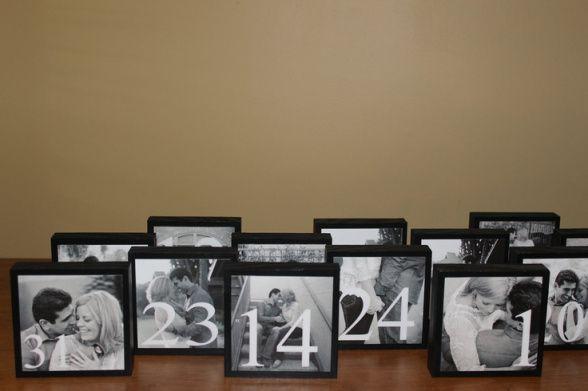 Números de mesa originales con fotos de los novios                                                                                                                                                                                 Más