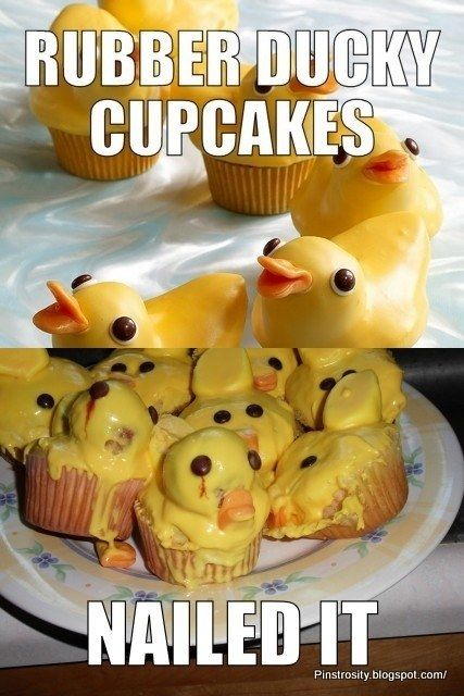 Rubber ducky cupcakes  Nailed It! Best Pinterest Food Fails Of All Time – BoredBug