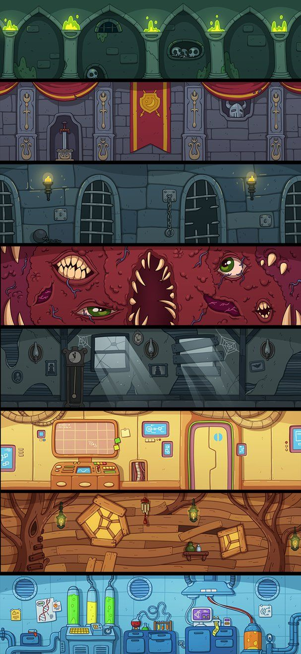 """Some of the backgrounds from our game Traps for Friends. In addition to the characters of this game: If you're thinking """"these look like Adventure Time backgrounds"""" yeah you're right Ever sin..."""