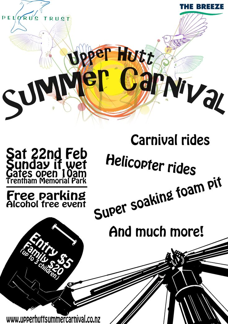Flyer created for this years carnival http://upperhuttsummercarnival.co.nz/