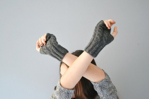 Knit gray gloves for winter fingerless mittens in by Notforeat