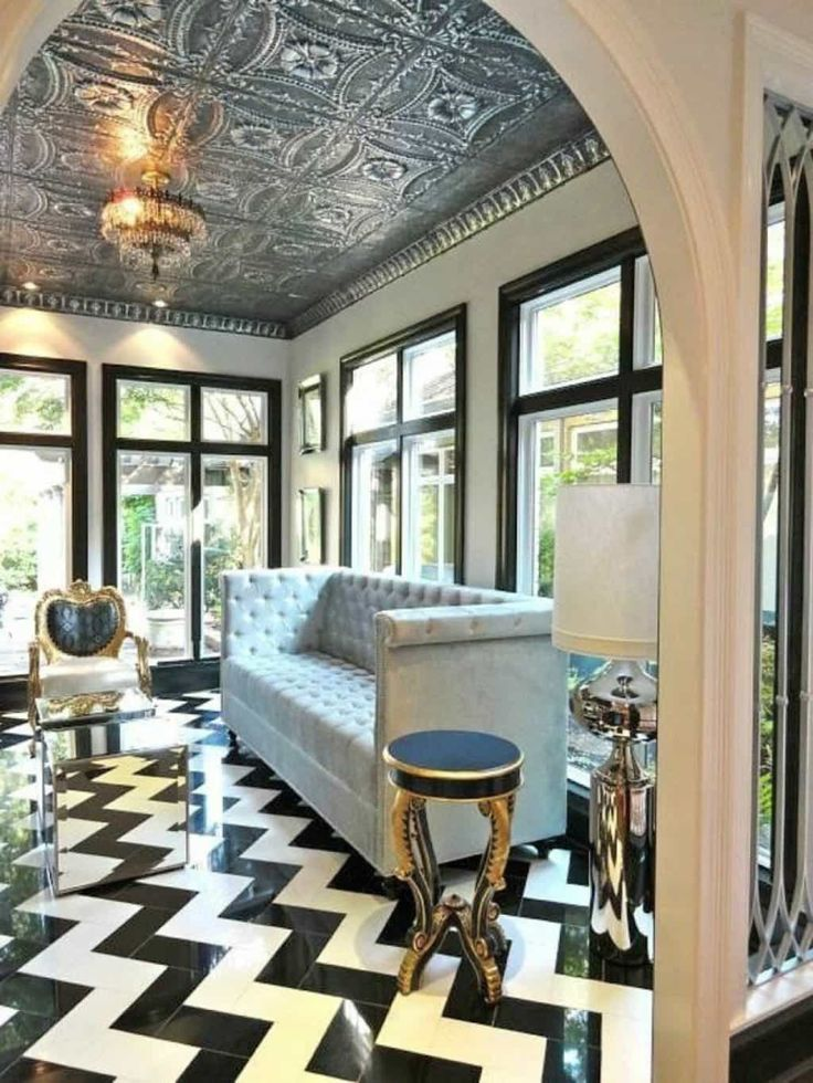 Living Room With Silver Tin Ceiling Tiles Tin Ceiling Tiles Are Making Comeback