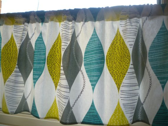 "Teal Curtain Panel Valance Cafe Curtain Grey Yellow Green Rod Pocket Ruched or Flat 54"" x 18"" 100% Cotton"