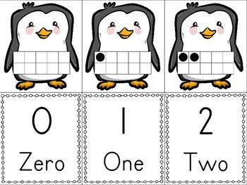 FREEBIE: Penguin Ten Frame Match! Set of 22 cards: Numbers
