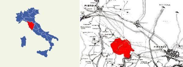 Carmignano DOCG Zona di produzione: parte del territorio dei comuni di Carmignano (PO) e Poggio a Caiano (PO), a metà strada tra Firenze e Pistoia, in uno dei più caratteristici ambienti collinari della Toscana, sul versante orientale del Montalbano. L'area di produzione è molto ristretta ed include una superficie a vigneto di poco inferiore a 100 ettari, distribuita sulla fascia collinare tra i 250 ed i 400 m s.l.m., delimitata a sud dalla valle dell'Arno, a nord e ad oriente dalla pianura…