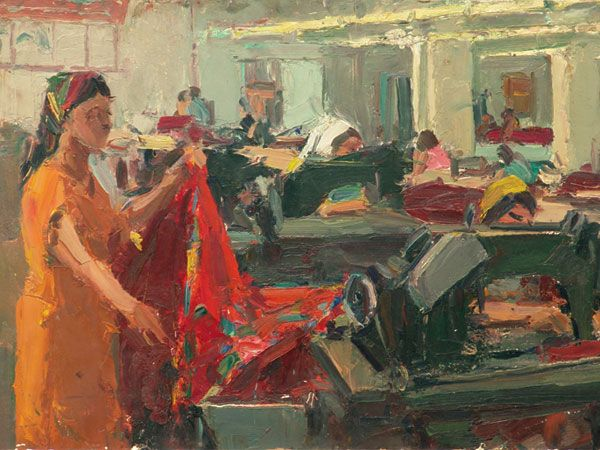 Рубинский И.П. —Цех платков.  Описание: 1968 г.