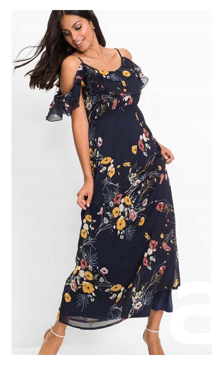 Sukienka Maxi Sukienka W Kwiaty Romantyczna Stylizacja Sukienka Granatowa Dresses Fashion Shoulder Dress