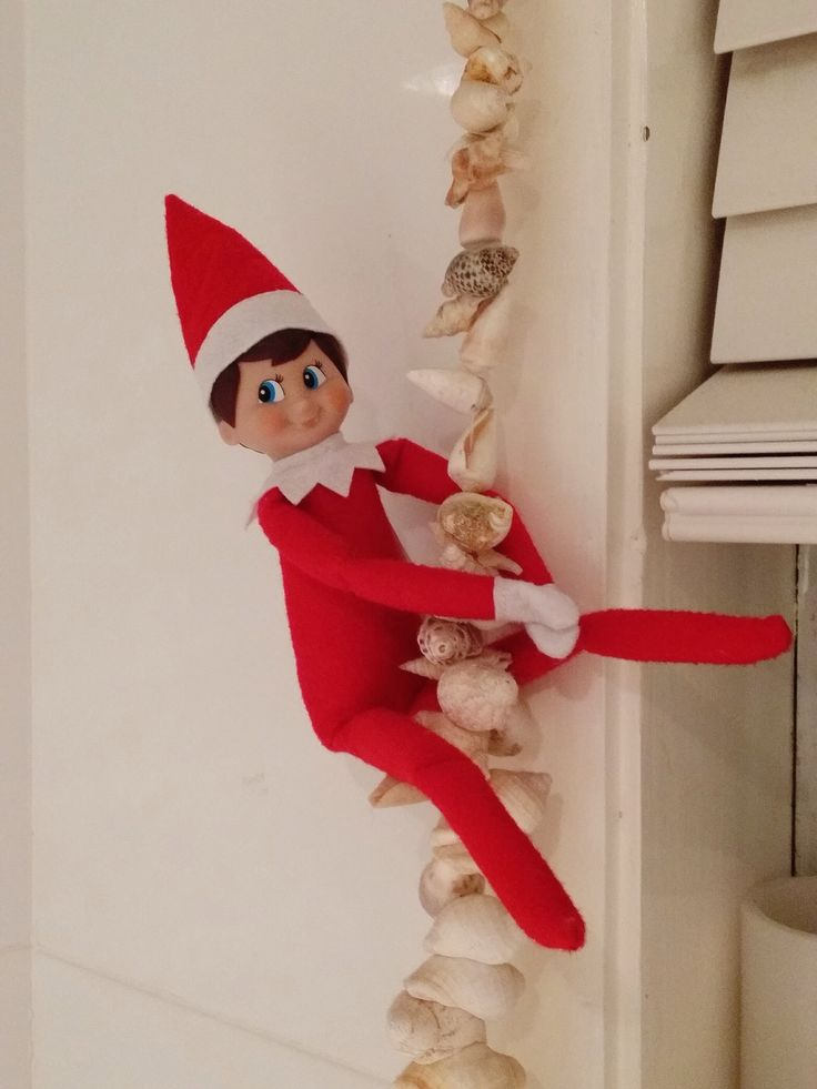 Elf on the shelf. Jingle Elf climbing the sea shell mobile in the bathroom