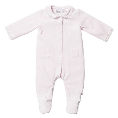Bebe Layla XW14-791 Petal Layla L-S Velour Romper w Lace – Sweet Thing Baby & Childrens Wear #Winter #Cloth #Girl sweetthing.com.au