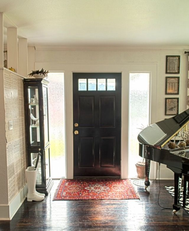 Entry Way Book Page Wall Baby Grand Piano Antique Persian