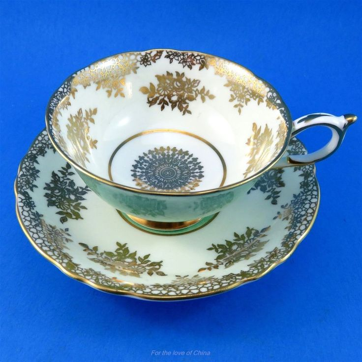 Gold Design on Beige with Green Exterior Paragon Tea Cup and Saucer Set | Pottery & Glass, Pottery & China, China & Dinnerware | eBay!