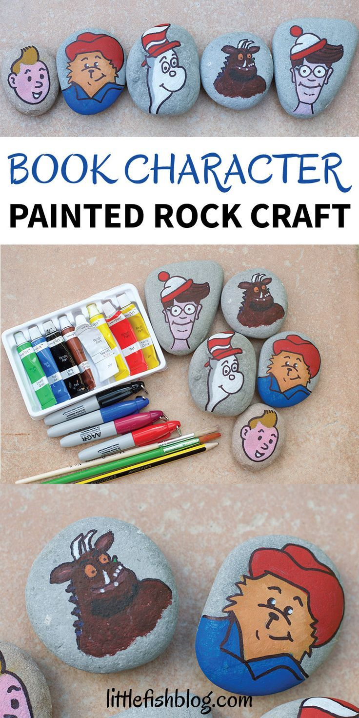 This book character painted rock craft is the perfect activity to do after reading a favourite book together. Get painting and then go out and hide your rock for someone else to find! Which book character will you paint? #rockpainting #paintedrocks #bookactivities #kidscrafts