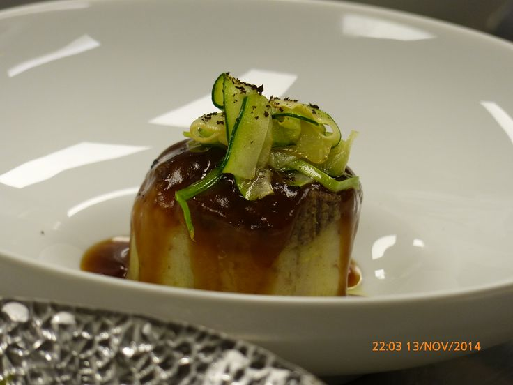 Columbus Madrid Nov 2014. Chef Mario Sandoval Michelin Star. Egg cooked at low temperature with truffle smashed potatoes and zucchini.