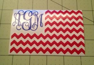American Flag Decal With Monogram For Your Yeti Tumbler Rambler Colster