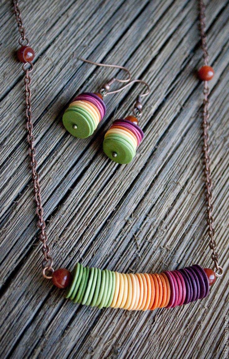 Комплект украшений - разноцветный, градиент, яркая осень, осеннее украшение, рауга, осенние серьги