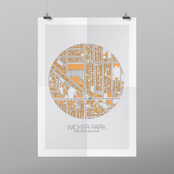 Chicago Division Blue Line Map Detail - Wicker Park Neighborhood Digital Print