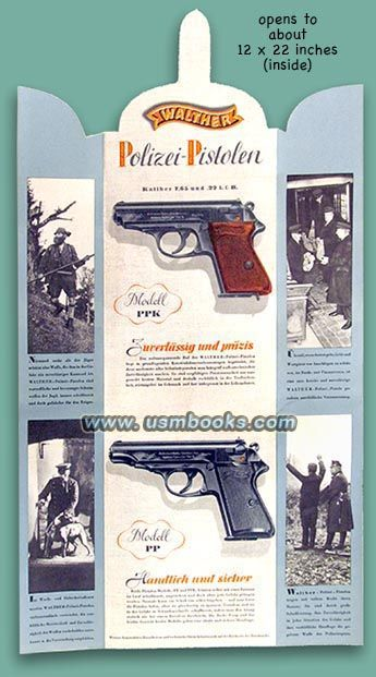 """Walther PP:  In the center of the back panel the black text on a golden background explains the safety features and use of the Walther police pistols models PPK and PP as well as their complete specifications. The text goes on to explain that the pistols were available in both .22 caliber (""""which makes it possible to shoot very inexpensive ammunition"""") and in 7.65 mm caliber. This is a beautiful 78 year old brochure, still in excellent condition with vibrant colors."""