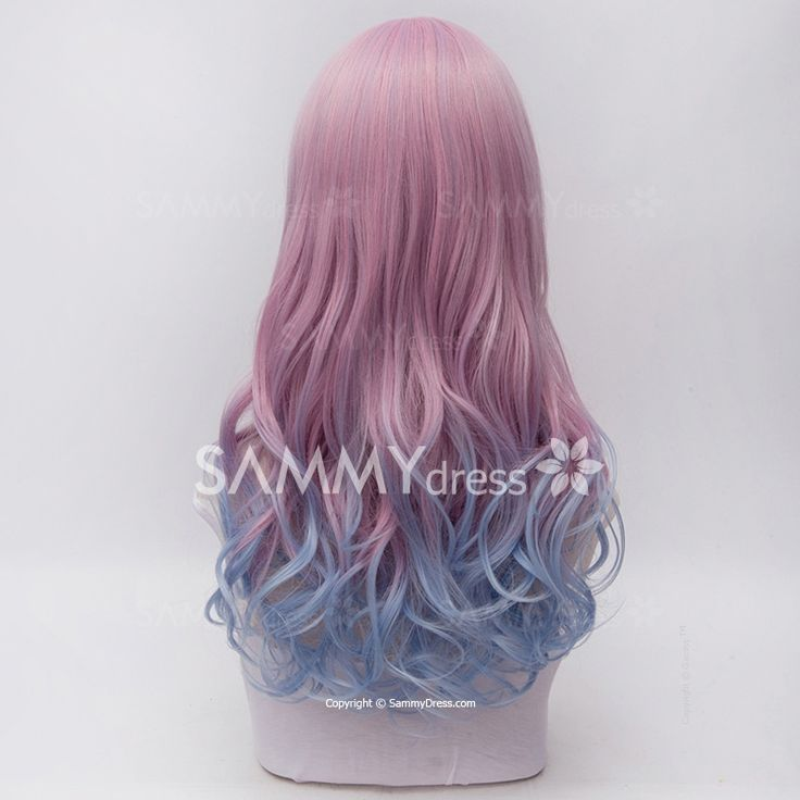 Lolita Anime Hairstyle Design 60CM Side Bang Long Wavy Synthetic Stylish Harajuku Ombre Cosplay Wig