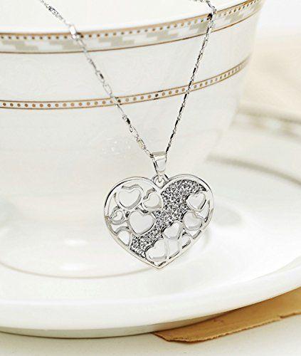 Neoglory Cristal Collar Colgante de Corazones Amor Love Heart Chapado en Oro Blanco Brillantes Rhinestones Blancos Joya Original Regalos para Mujer