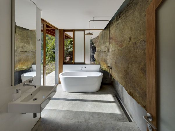 Cliff face house, they incorporated the cliff into the bathroom which I really like. Very textural