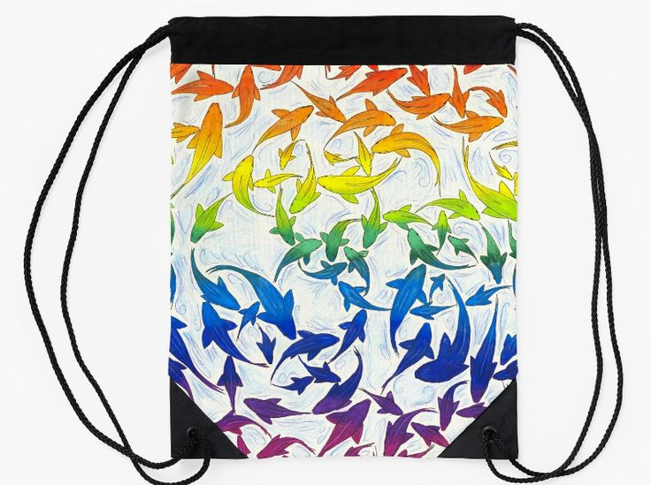 """Harmony Rainbow Fish Colorful drawstring bag by Rebecca Wang on Redbubble. Go out in style with these colorful drawstring bags! Bag measures 15.5"""" wide and 19.5"""" tall. Made from 100% polyester woven fabric with a wide, soft drawcord that's easy on your shoulders. Durable quality metal grommets."""