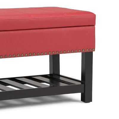 Radley Storage Ottoman Bench - Crimson Red - Simpli Home