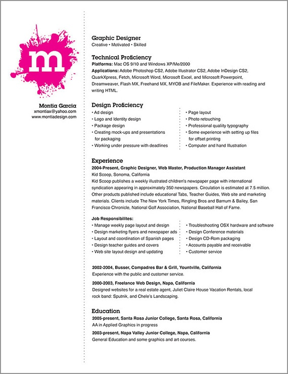 layout of resumes