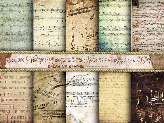Carta digitale con spartiti d'epoca e note musicali, anticata, per regali, parti o scrapbooking  - Ephemera ad alta definizione- Des. 009