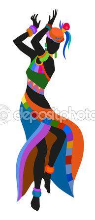 Mujer africana bailando danza ritual — Vector de stock #113982848