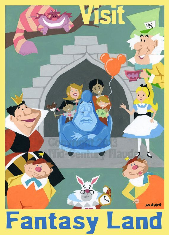 Alice in Wonderland Disney Fan Art Print Retro by MidCenturyMaude, $15.00
