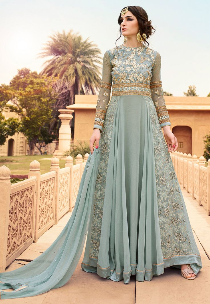 #Abaya #style #suits with the flowing length #salwar make heads turn. Dressed in this #embroidered #net and #georgette suit, feel #light and #comfortable while you #slay them all. Embrace #pastels this season
