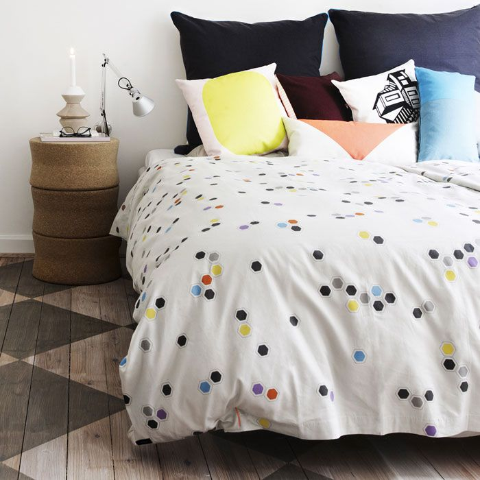Love the bed...but the floor is fantastic. Scandinavian Design, Honeycomb Bed Linen from Oyoy