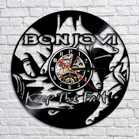 Bon Jovi Logo Handmade Vinyl Record Wall Clock Gift Ideas For His And Her Get Unique Room Wall Decor Modern Unique Home Art Design Handmade Products Clocks