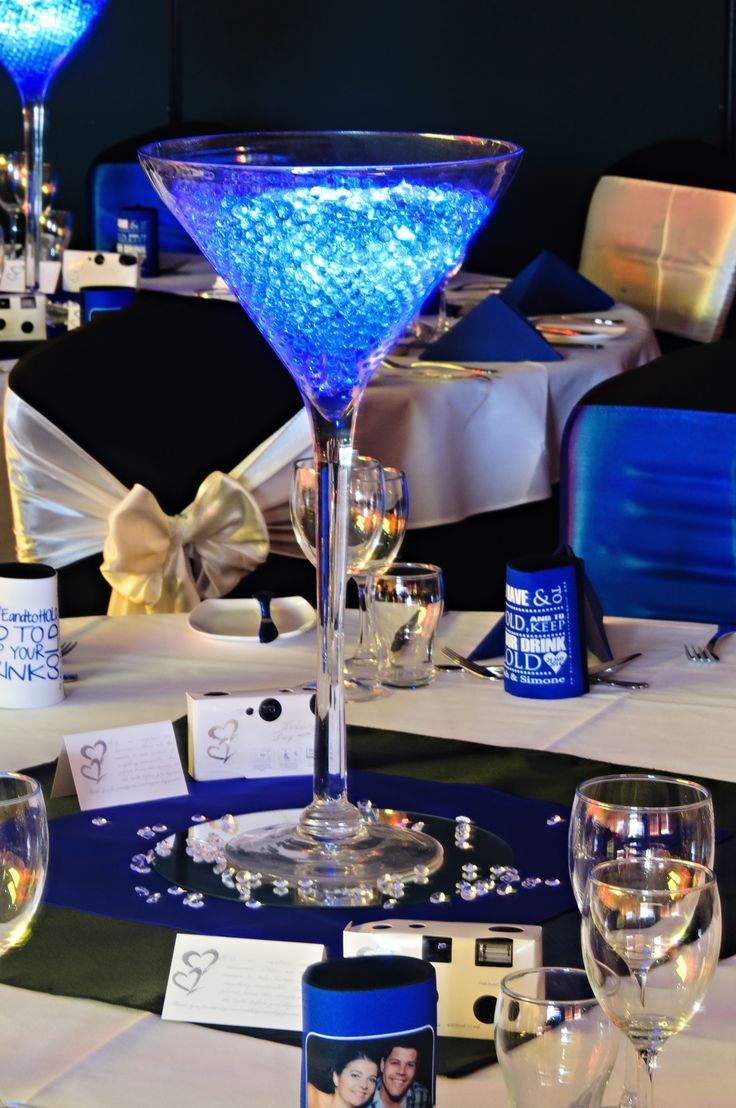 Martini Vase Centrepiece - with Jelly Fillers and LED Submersible Lights: by Toowoomba White Wedding and Event Hire, Weddings, Parties, Corporate Functions {Toowoomba, Surrounding Areas}