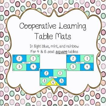 Table mats to aid in cooperative learning - in blue, mint, and rainbow. Accommodates up to 5 students. Students each have their own number and can be split up into pairs using the A and B labels.This product contains an extra 5 seater option in yellow!