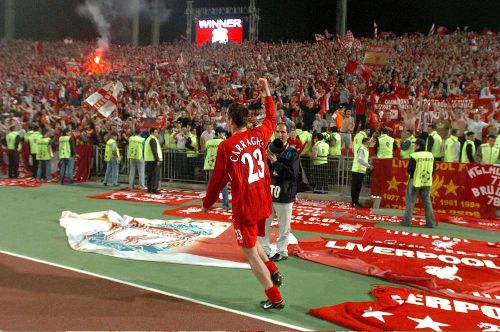One of the most iconic shots of Carra celebrating Liverpool's European Cup win in Istanbul