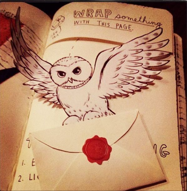 """""""Wrap Something with this Page"""" ... HOGWARTS LATER, MAYBE?! Gah, I love this."""
