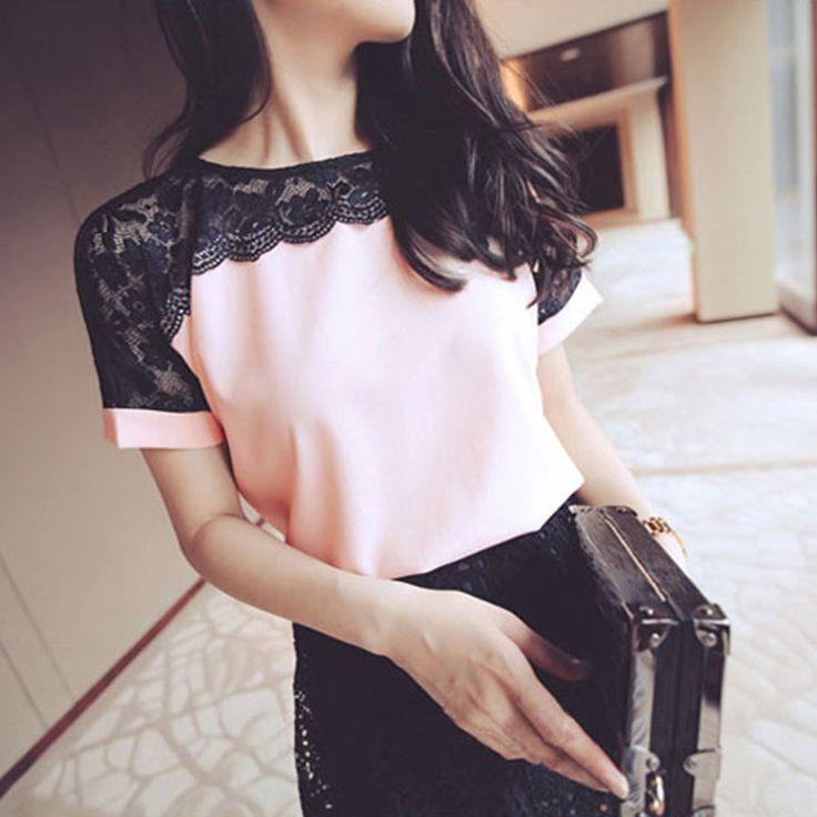 328-395 руб Женщины Блузки Кружева Шифон Блузка Blusa Feminina Топы С Коротким Рукавом Мода Сорочка Femme Женщина Рубашки Плюс Размер 5XL/6XL красный