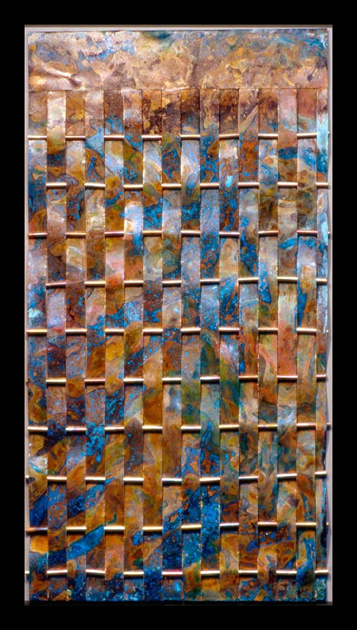 Woven copper metal with blue patina. love the colors together hmmmmm brain is gathering info.........