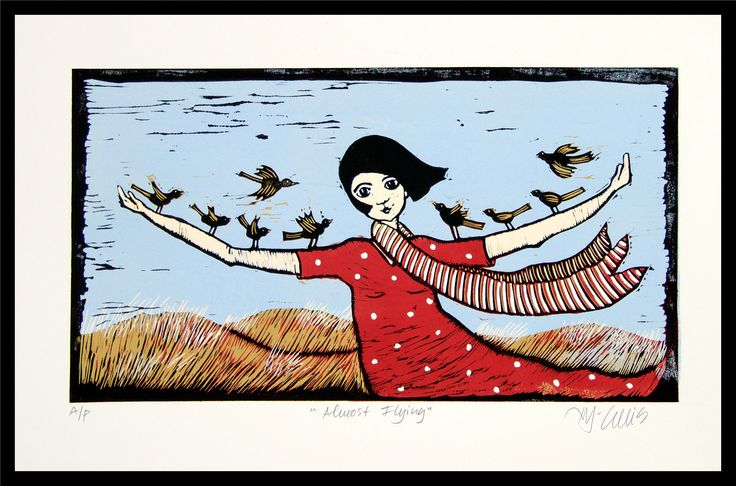 Excited to share the latest addition to my #etsy shop: linocut, Almost Flying, girl in red dress, bird print, inspirational art, beach scene, hair, windy, landscape, #art #printmaking #black #red #linocut #sea #landscape #seaside