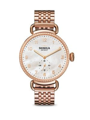 SHINOLA Canfield Diamond, Mother-Of-Pearl & Rose Goldtone Stainless Steel Bracelet Watch. #shinola #watch