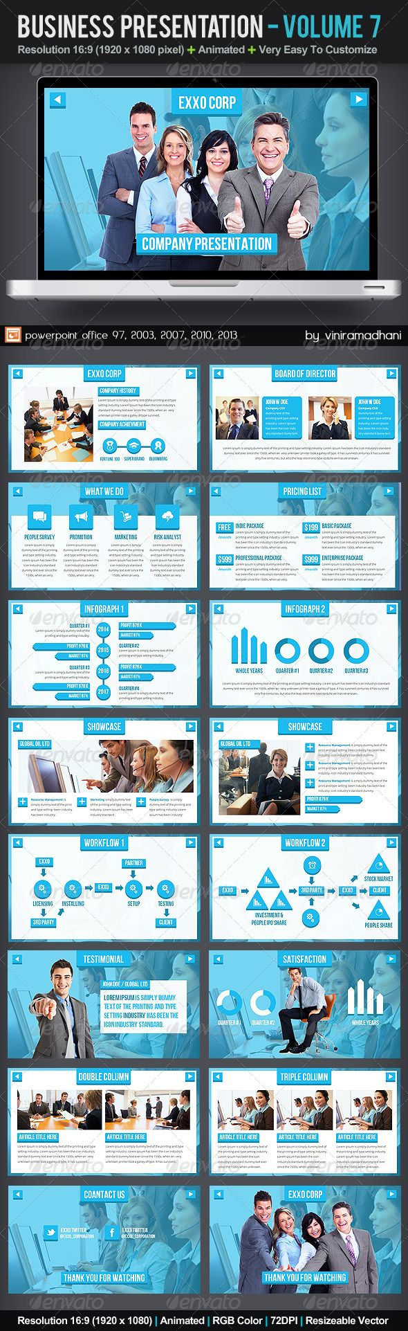 Business Presentation | Volume 7  #GraphicRiver         Specs  :  	 microsoft office powerpoint 97, 2003, 2007, 2010, 2013