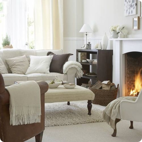 White, brown and beige living room