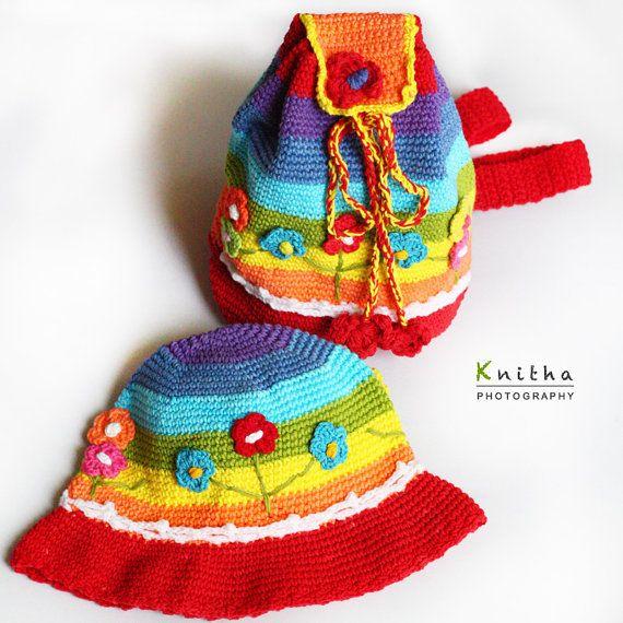 Crochet Flower Backpack & Hat  for Girl / Light Blue / Set of 2