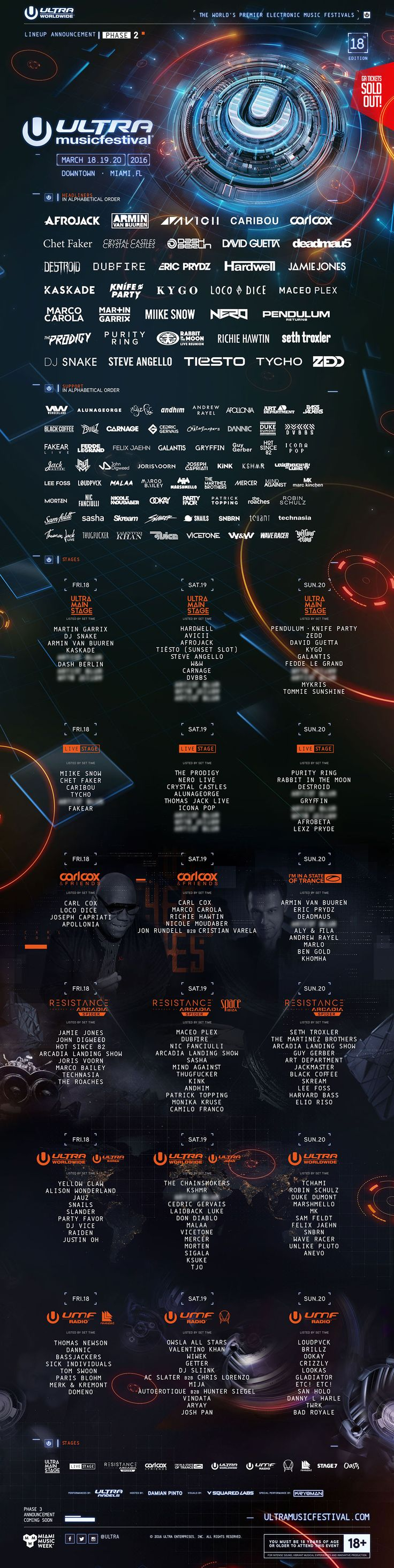 Ultra Music Festival, Miami, March 18-20, 2016. Who's performing: Avicii, Carl Cox, Eric Prydz, The Prodigy, DJ Teisto and more