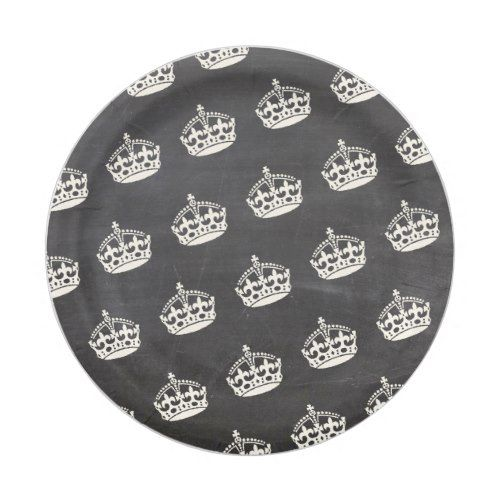 Keep Calm Crown Chalkboard Party Chic Paper Plates