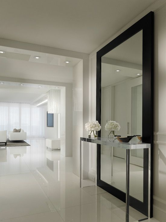 , Contemporary Hallway Design Ideas With Stainless Console Table Also Huge Modern Mirror With Black Frame Also White Tile Floor Also White Wall Paint Color Also Small Ceiling Lights Also White Modern Furniture: Hallway designs to Make Your House Better