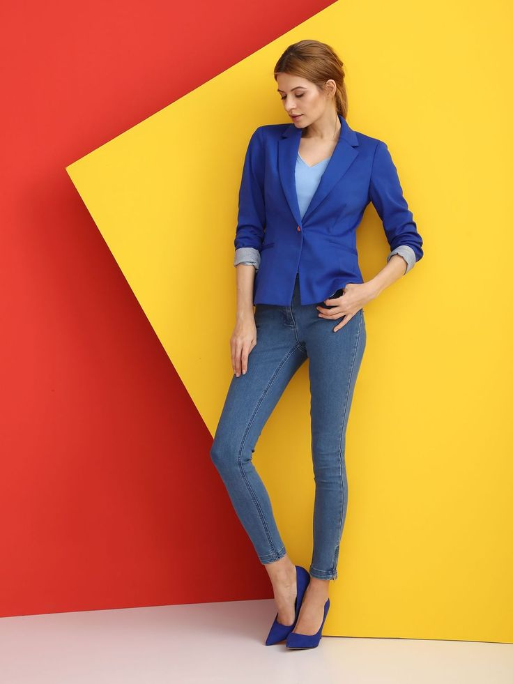 Comanda online, Sacou casual Top Secret albastru captusit pe interior. Articole masurate, calitate garantata!