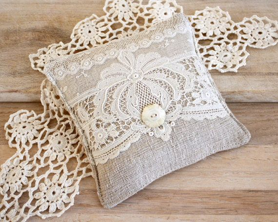 Linen and Lace Lavender Sachet by BailiwickStudio on Etsy, $11.00