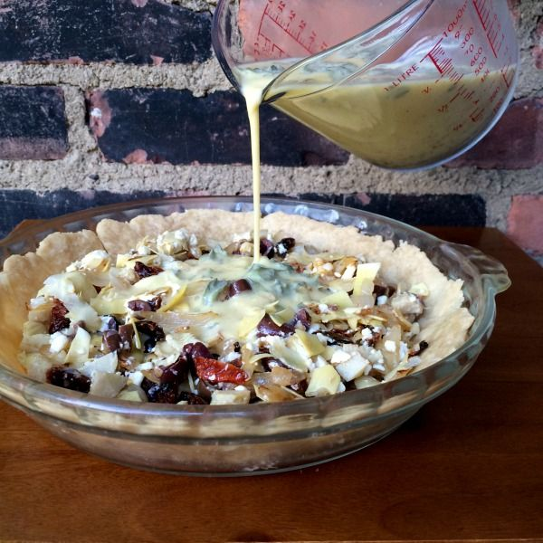 Greek Quiche with Artichokes, Kalamata Olives, Sun-Dried Tomatoes and Feta
